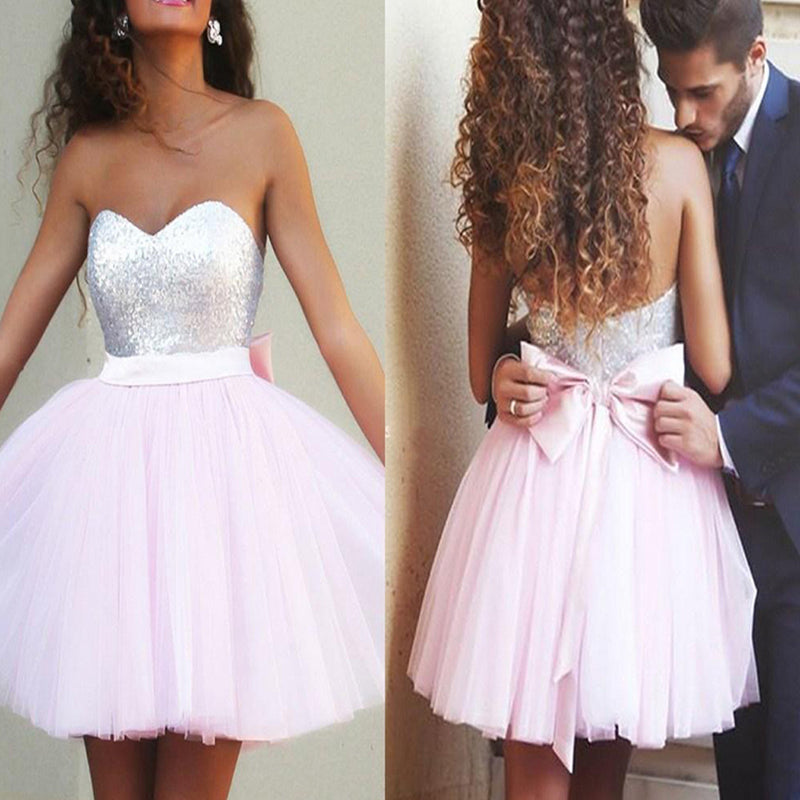 Light Pink Sparkly Sequins Sweetheart Cute Bow Sash Mini A-line Tulle Skirt Homecoming prom dresses, BD00145