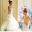 Cheap Summer Sexy Mermaid Backless Spaghetti Strap Lace Appliqures Tulle Wedding Dresses, WD0147