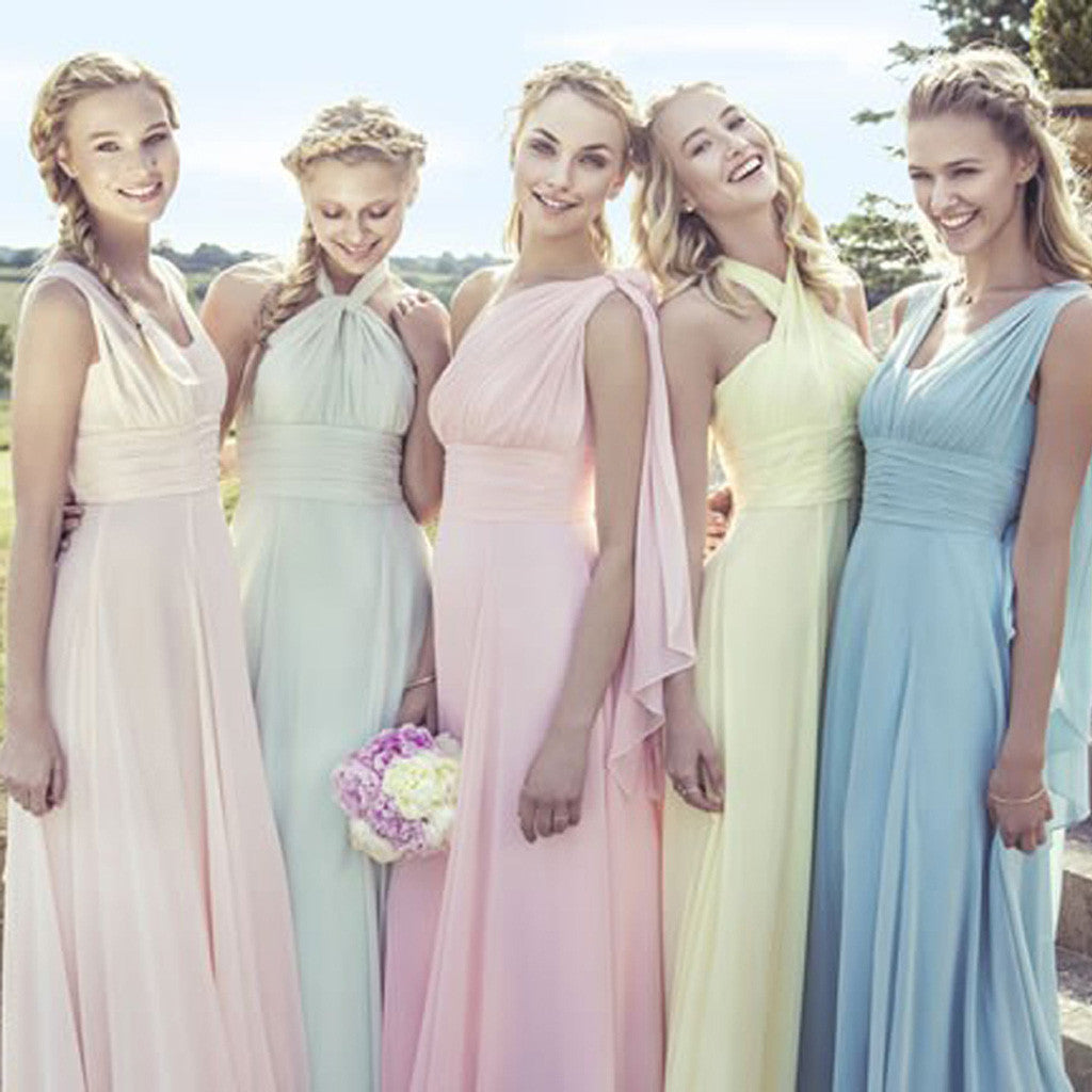 99489d2bfa Junior Young Girls Simple Cheap Chiffon Convertible Mismatched Styles Bridesmaid  Dresses for Wedding Party, WG148