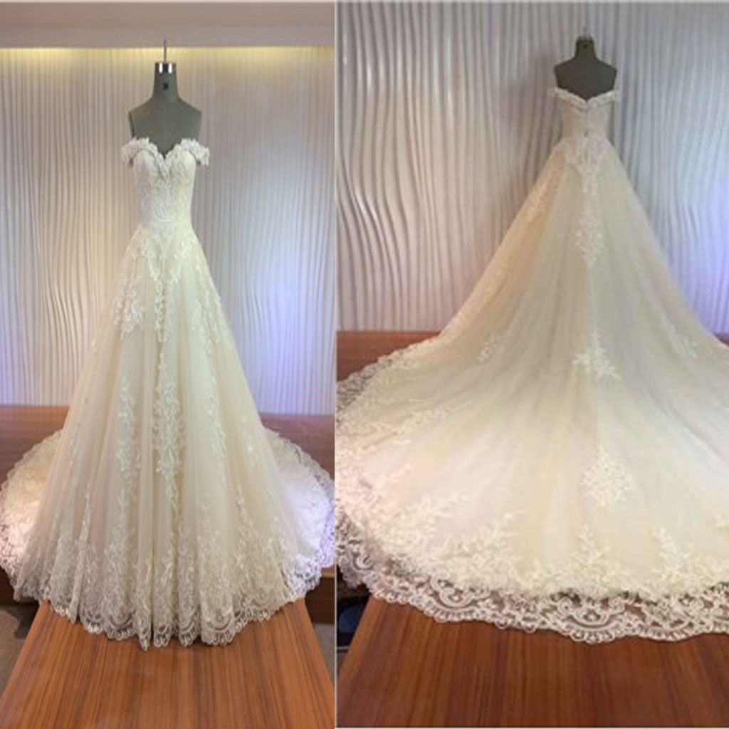 Gorgeous Off Shoulder Sweetheart Zip Up Long A-line Lace Cathedral Train Wedding Dresses, WD0148