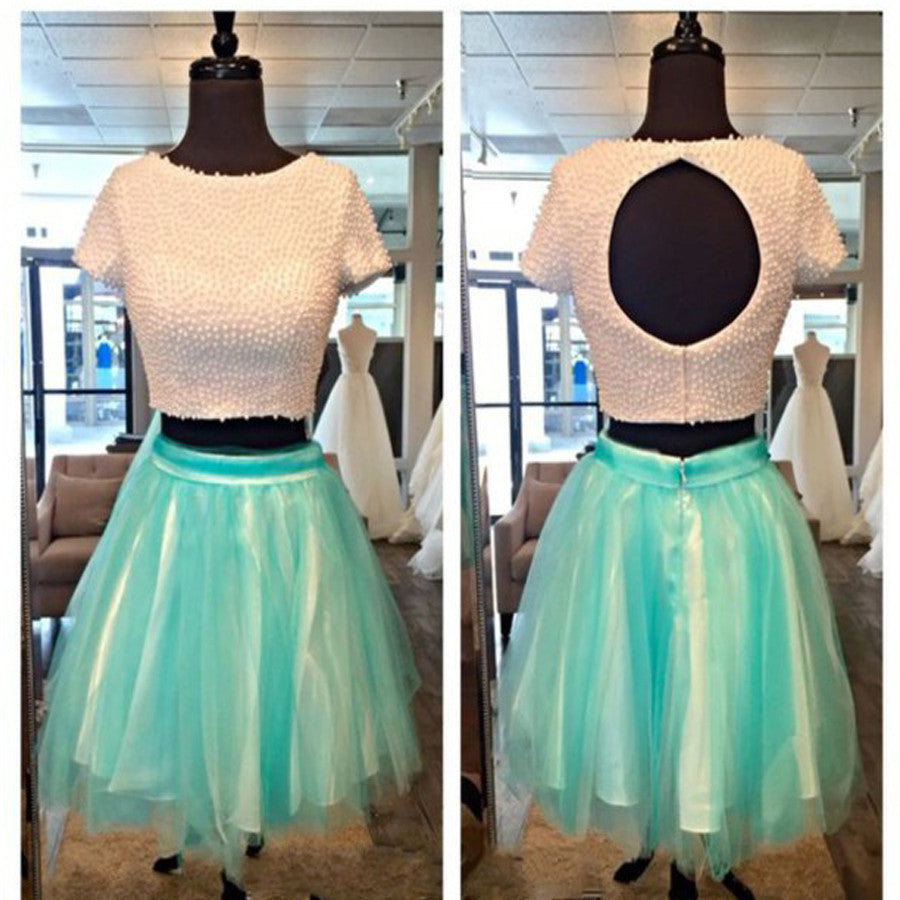 Unique Two Pieces Short Sleeve Beads Keyhole Back For Teens Homecoming Prom Dresses, BD00148