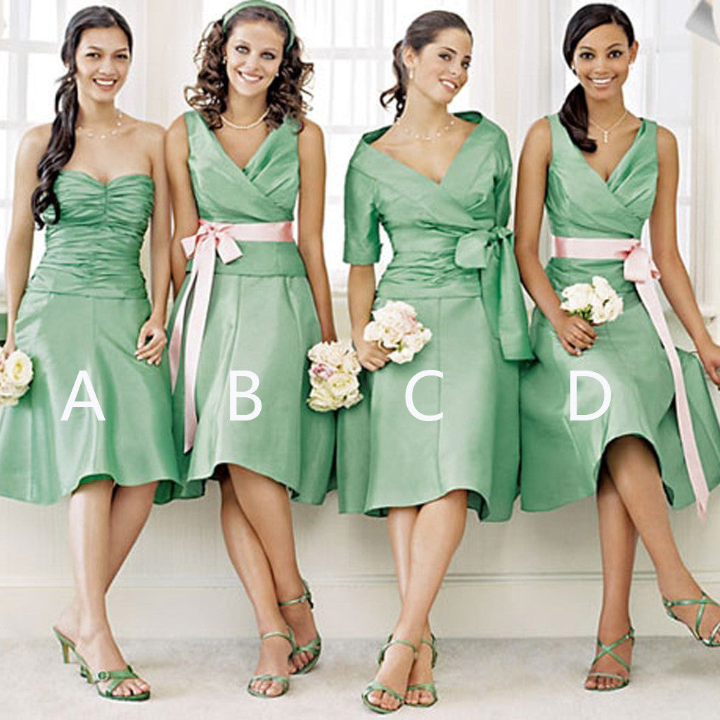 Unique Satin Mismatched Green Different Styles Cheap Short Knee Length Bridesmaid Dresses, WG149