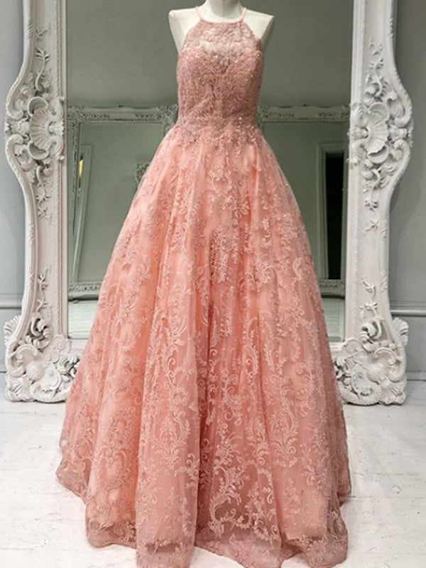Charming Tulle Lace A-line Long Prom Dresses Evening Dresses.DB10603