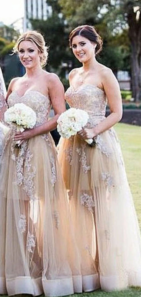 Gorgeous Sweetheart Strapless Lace Appliques Clairvoyant Outfit Tulle Long Dresses for Maid of Honor Bridesmaid Dresses, WG18