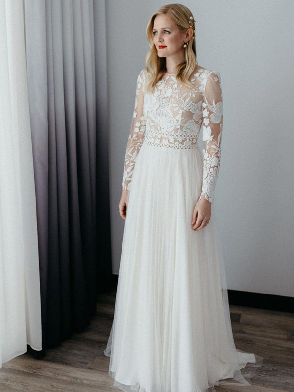 Simple Round Neck Long Sleeve Tulle Lace Long Wedding Dresses, DB10743