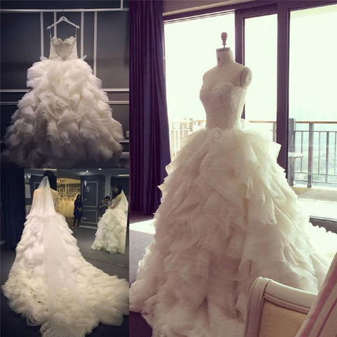 Spaghetti Strap Lace Top Unique Design Ruffles Ball Gown Cathedral Train Wedding Party Dresses,  WD0014