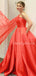 Charming One-shoulder Satin A-line Long Prom Dresses Evening Dresses.DB10575