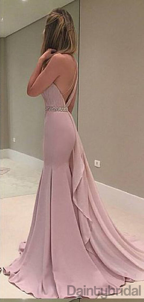 Mermaid Asymmetric Sleeveless Long Prom Dresses With Train.DB10165