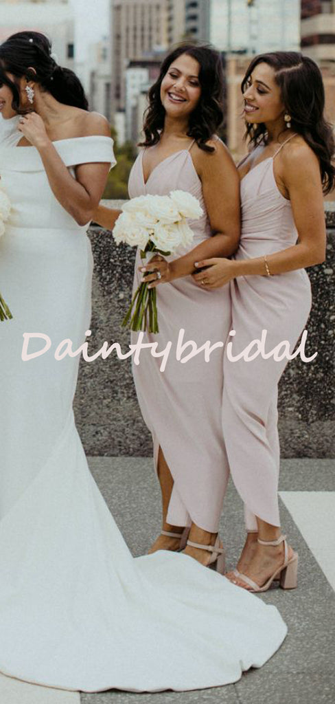 Sexy V-neck Mermaid Side Slit Simple Evening Dresses Bridesmaid Dresses.DB10729