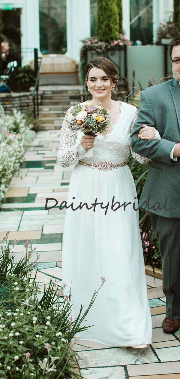 Affordable V-neck Simple Chiffon Lace Long Sleeve Open Back Long Wedding Dresses.DB10689