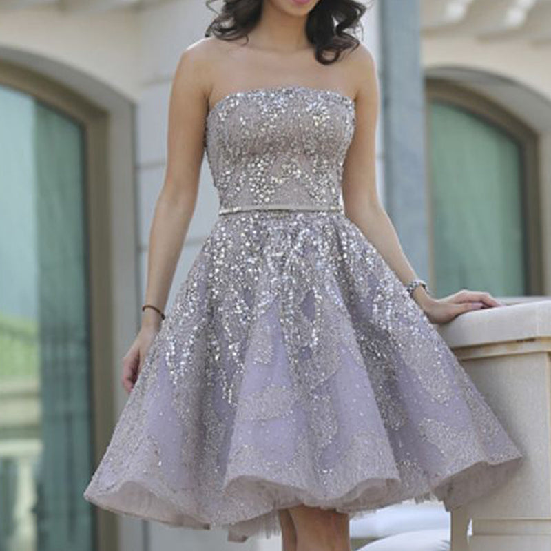 Gorgeous A-line Grey Spaghetti Sash Floral Prints Strapless Organza Homecoming Prom Gown Dress,BD00151