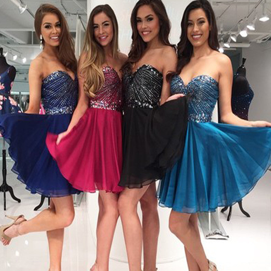 Vintage Sweetheart Sparkly Strapless Sequins Simple Style Mini Homecoming Prom Dresses, BD00153