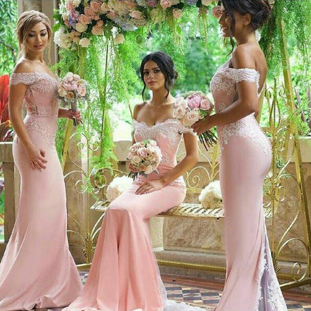 Sexy Mermaid Pink Off Shoulder Lace Top Sweep Trailing Long Bridesmaid Dresses for Wedding Party, WG155
