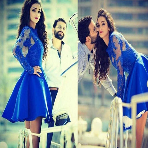 Vintage Long Lace Illusion Sleeve Royal Blue Ball Gown Clairvoyant Outfit Back Homecoming Dresses, BD00156