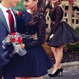 Sexy Long Illusion Sleeve Black Beads Open Back Petal Mini Homecoming Prom Gown Dresses, BD00157
