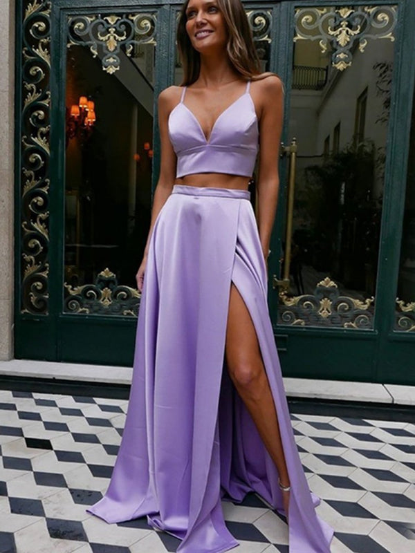 Sexy V-neck Two-piece Side Slit Satin Long Prom Dresses Evening Dresses.DB10593