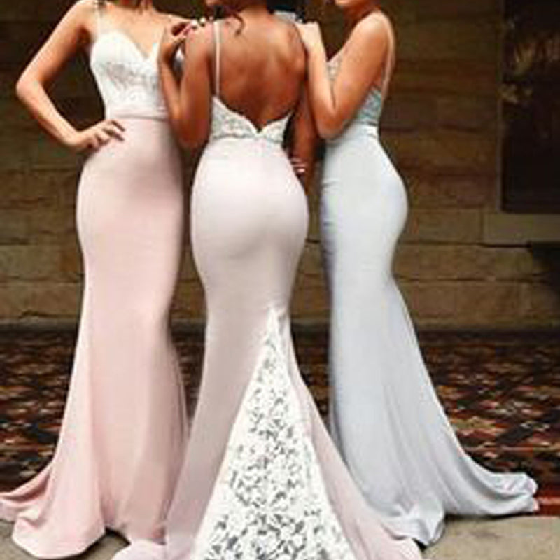 Sexy Mermaid Spaghetti Strap Sweetheart Open Back Lace Sweep Trailing Long Bridesmaid Dresses, WG07