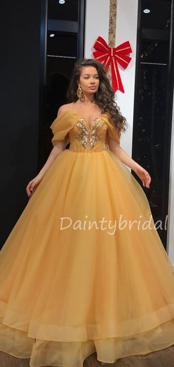 Charming Off-shoulder Organza A-line Long Prom Dresses Evening Dresses.DB10576