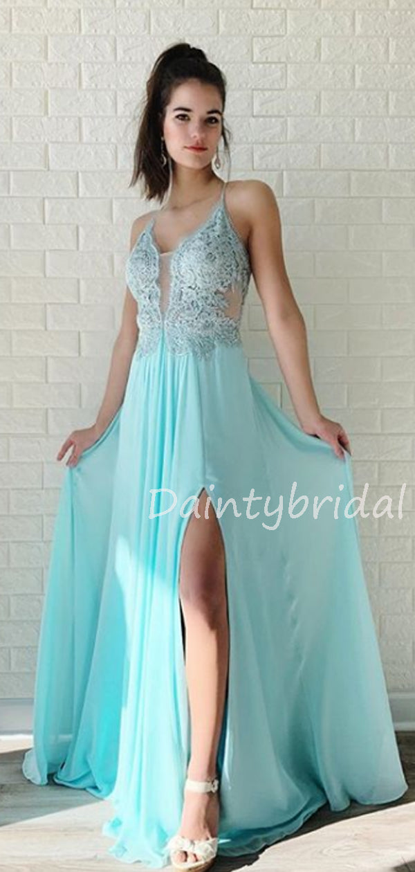 Charming V-neck  Lace Chiffon A-line Side Slit Long Prom Dresses Evening Dresses.DB10604