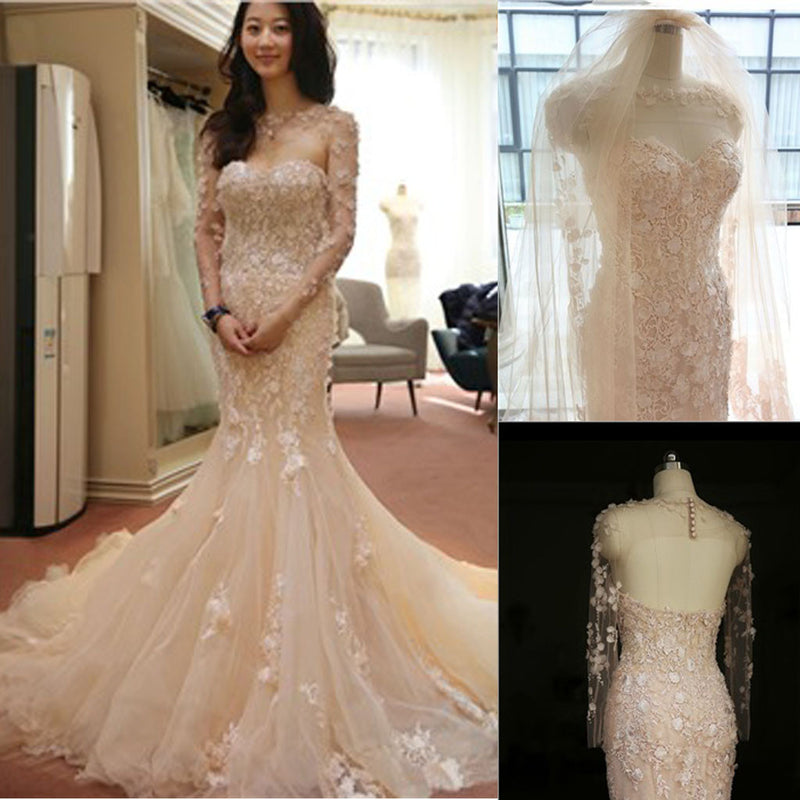 Shawl Long Illusion Sleeve Sweetheart Mermaid Backless Appliques Chapel Trailing Wedding Dresses, WD0160