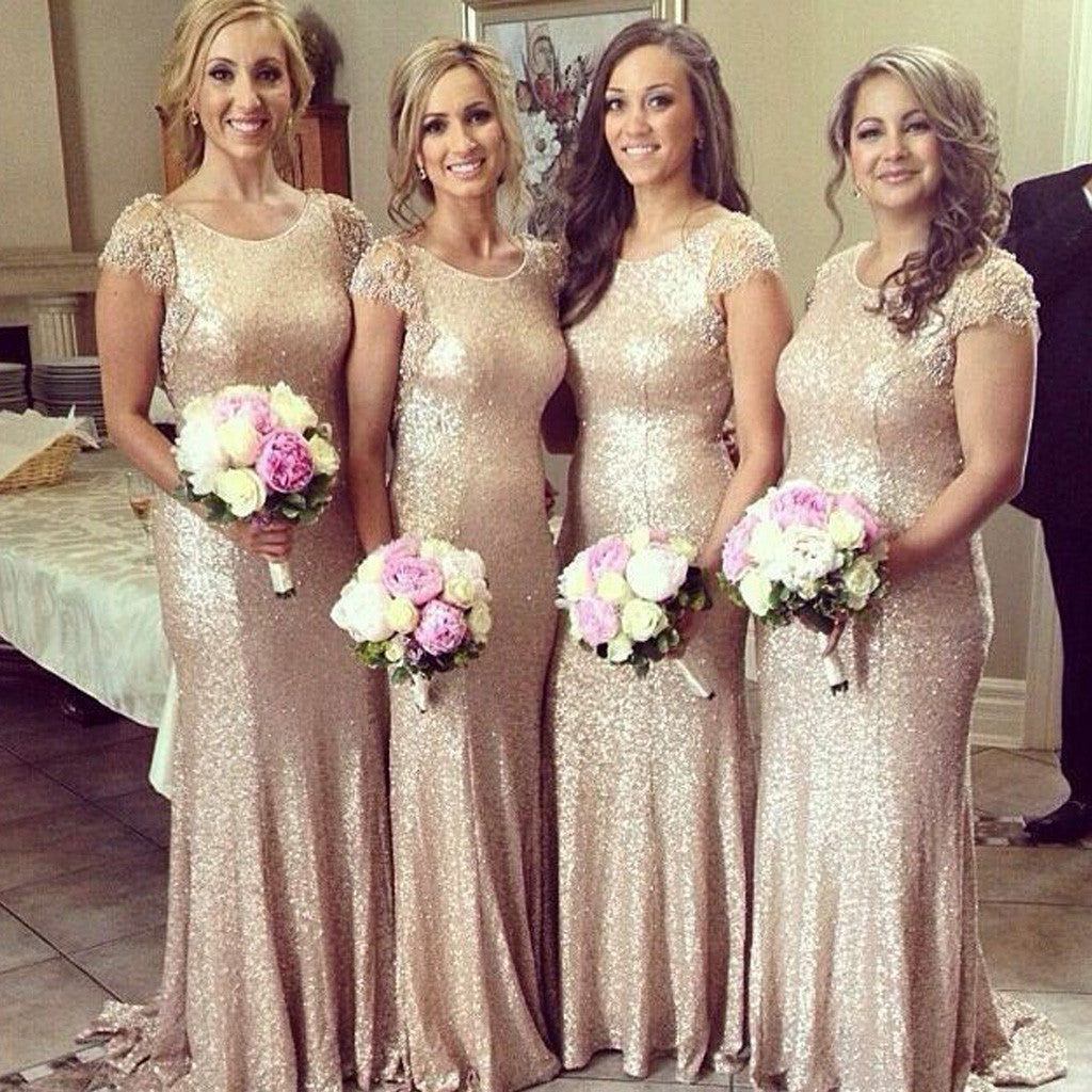 Shinning Cap Sleeve Sequin  Round Neck Long Column Sweep Trailing Bridesmaid Dresses for Wedding Party, WG160
