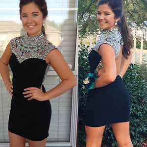 New Arrival black high neck vintage tight open back special formal homecoming prom dresses,BD00163