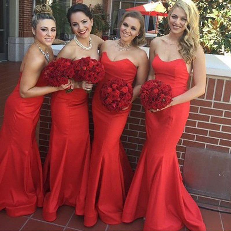 Beautiful Stunning Red Sweetheart Sexy Mermaid Satin Long Wedding Guest Bridesmaid Dresses, WG164