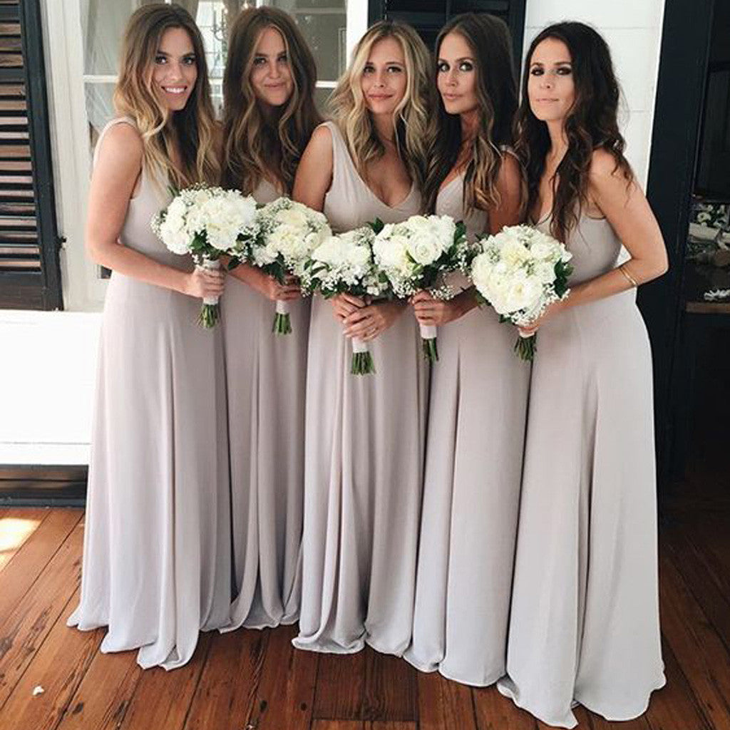 Cheap Simple Sleeveless V Neck Elegant A Line Light Grey Pleating Chiffon Long Wedding Party Bridesmaid Dresses, WG165