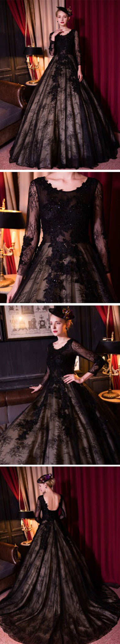 Special Black Tulle Lace Scoop Neck Long Sleeve A-line Ball Gown Prom Dress Wedding Dresses, WD166