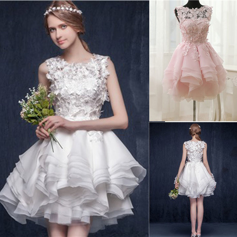Lovely Scoop Neck Appliques Sleeveless Short Organza Ruffles Homecoming dresses Wedding Party Dresses, WD0169