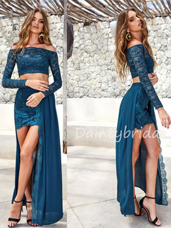 Charming Lace Two-piece Long Prom Dresses Evening Dresses.DB10556