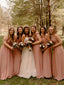 Charming Spaghetti Strap Off-shoulder Chiffon Floor-length Simple Long Bridesmaid Dresses.DB10758