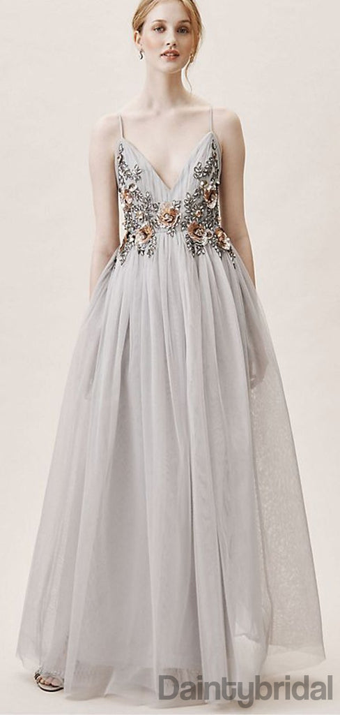 V-neck A-line Tulle Open Back Prom Dresses.DB10196