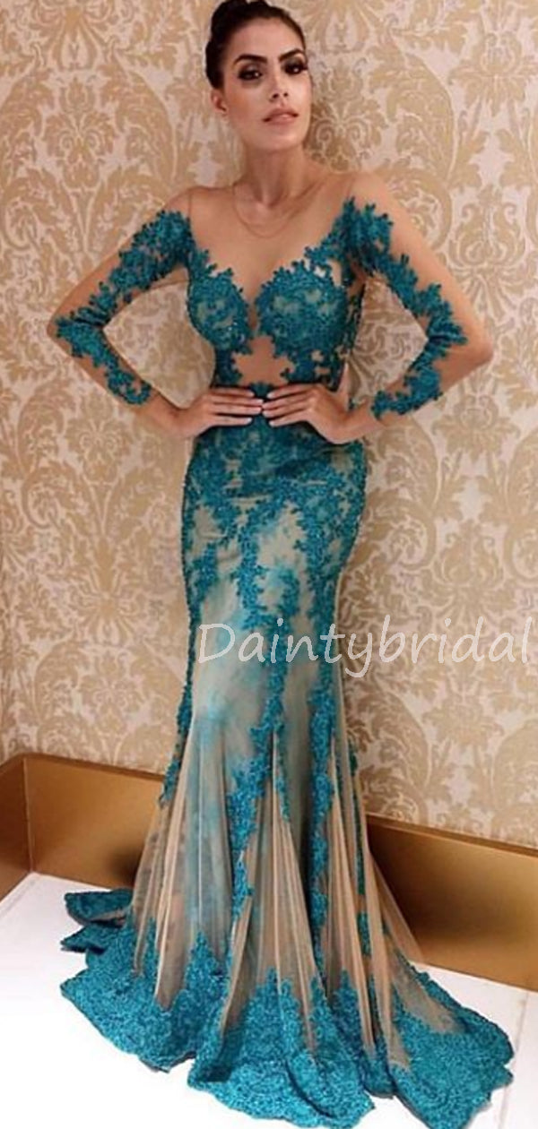 Charming Lace Tulle Mermaid Long Sleeve Long Prom Dresses Evening Dresses.DB10557