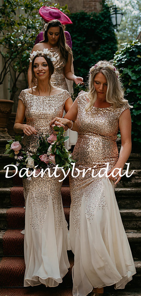 Simple Sweetheart Mermaid Tulle Sequin Long Bridesmaid Dresses.DB10773