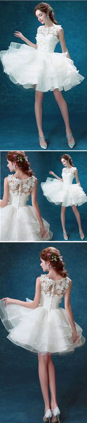 Lovely Scoop Neck Sleeveless Cute Appliques Organza Juliet Mini Homecoming dress Wedding Party Dresses, WD0170