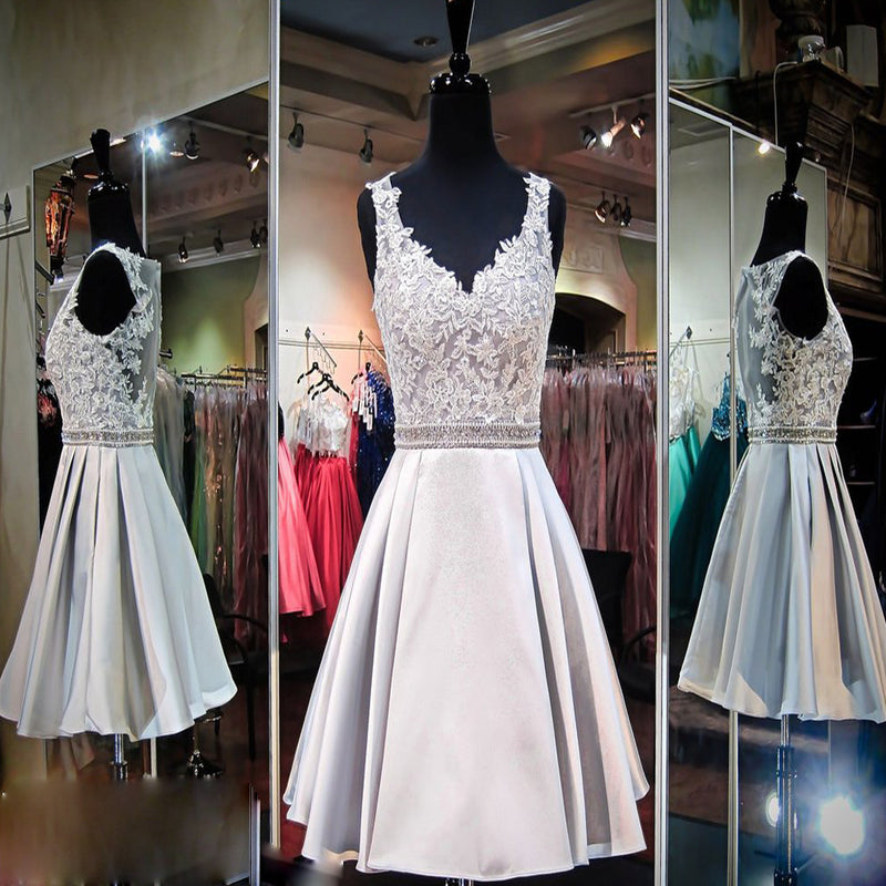 Elegant Sleeveless V-neck Sliver Lace Appliques Open Back Knee Length Homecoming Prom Dresses,BD00171