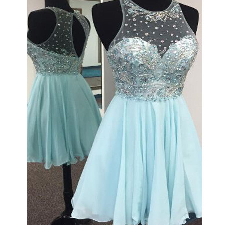 Short Tiffany Blue Clairvoyant Outfit Sparkly Sleeveless Sweetheart Freshman Homecoming Dress,BD00173