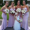 Simple Lilac Cheap Sweetheart Strapless Mermaid  Sexy Sweep Trailing Wedding Party Bridesmaid Dresses, WG174