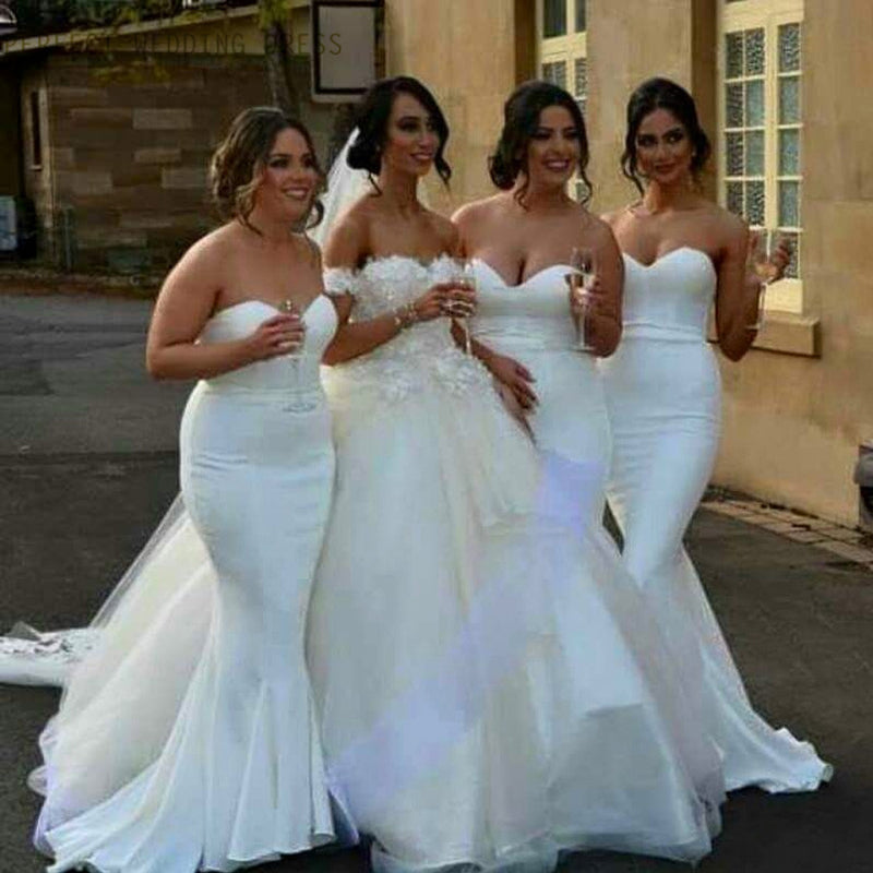White Satin Cheap Sweetheart Strapless Mermaid Ruffles Sweep Trailing Sexy Wedding Party Bridesmaid Dresses, WG175