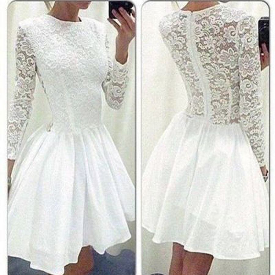 Cheap Vintage Long Clairvoyant Outfit Sleeve White Lace Tight Round Neckline Homecoming Prom Dresses, BD00175