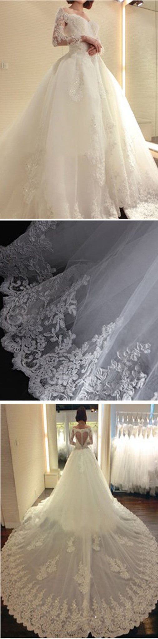 Stunning Long Sleeve Yarn Back Lace Appliques Unique Design Cathedral Train Ball Gown  Wedding Dresses, WD0179