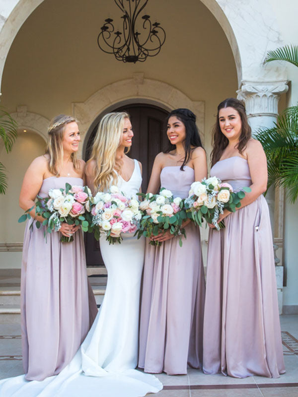 Dusty Pink Tulle Applique Mismatched Mermaid Bridesmaid Dresses,DB135