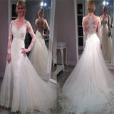Vintage A-line Long Sleeve Sparkly  V-neck Yarn Lace Back Elegant Beauty Tulle Train Wedding Dresses, WD0183