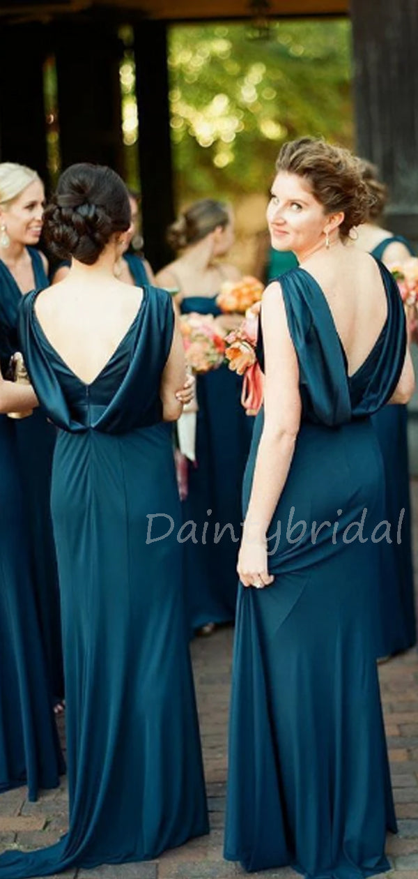 New Arrival Sexy V-neck Zipper Up Long Bridesmaid Dresses.DB10589