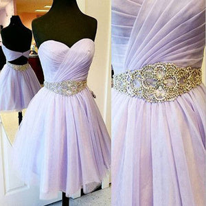Short Lilac Sweetheart Sparkly Rhinestone Sash Open Back Pleated Chiffon Homecoming Prom Gowns Dress,BD00180