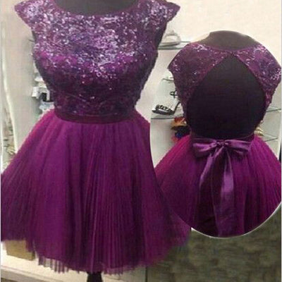 Clairvoyant Outfit Purple Cap Sleeve Sparkly Open Back Bow Knot Cocktail Homecoming Prom Dresses ,BD00181