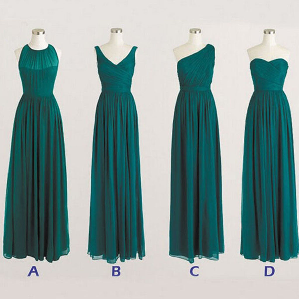 Best Sale Cheap Simple Mismatched Styles Chiffon Floor-Length Long Teal Green Bridesmaid Dresses, WG183