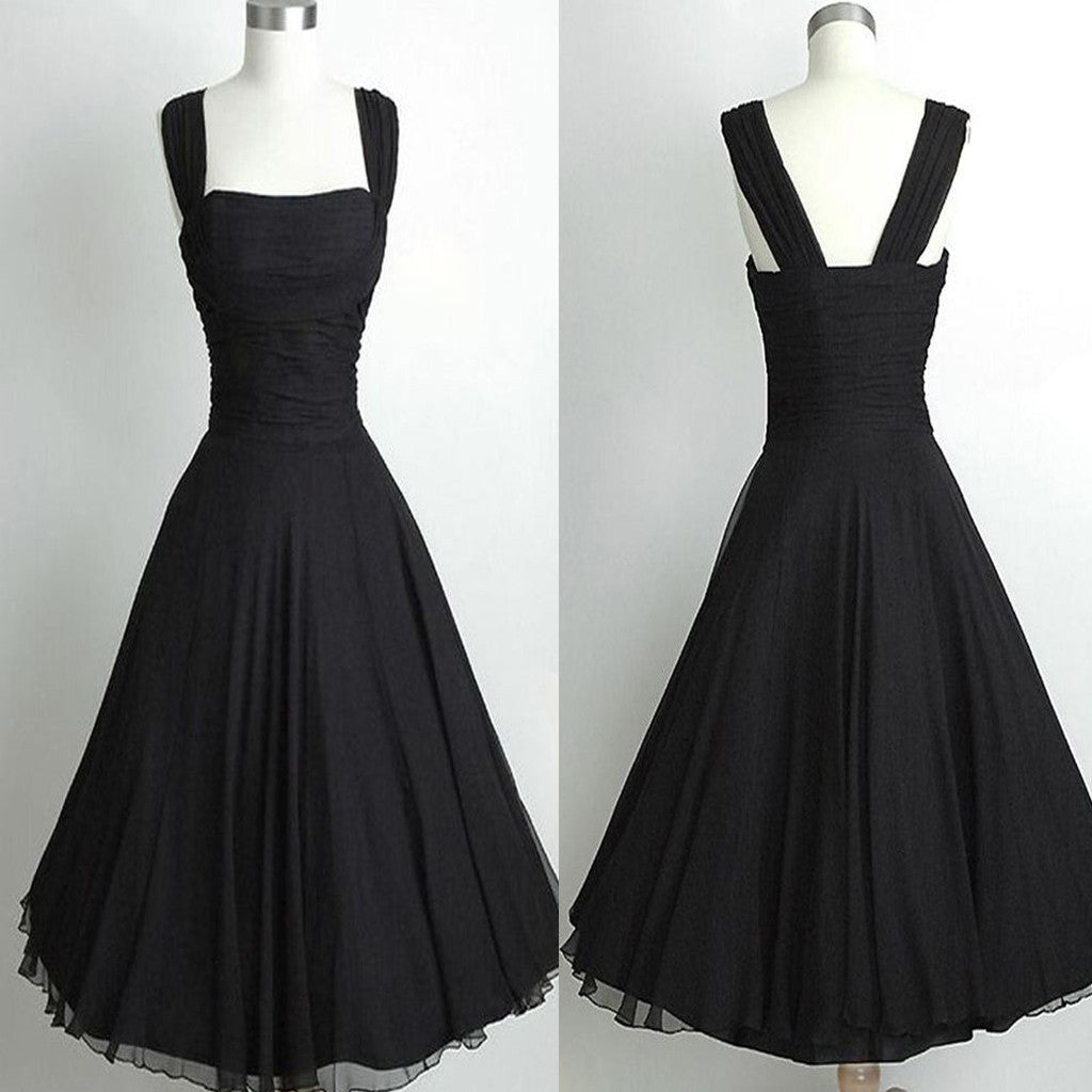 Vintage Black A-line Sleeveless Square Neckline Ankle-Length Homecoming Prom Dresses, BD00184