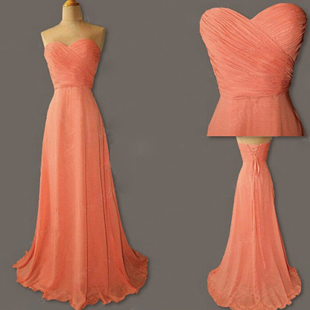 Cheap Junior Young Simple Sweetheart Chiffon Formal Coral Lace Up Back Long  Bridesmaid Dresses, WG186